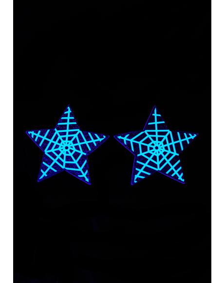 Glow In The Dark Spider Web Stars Pasties
