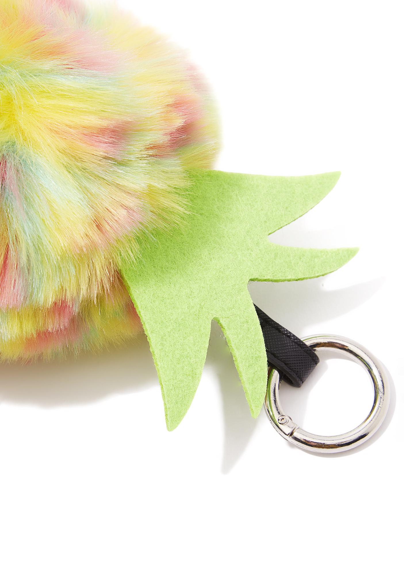 Juicy Bite Fuzzy Pineapple Keychain