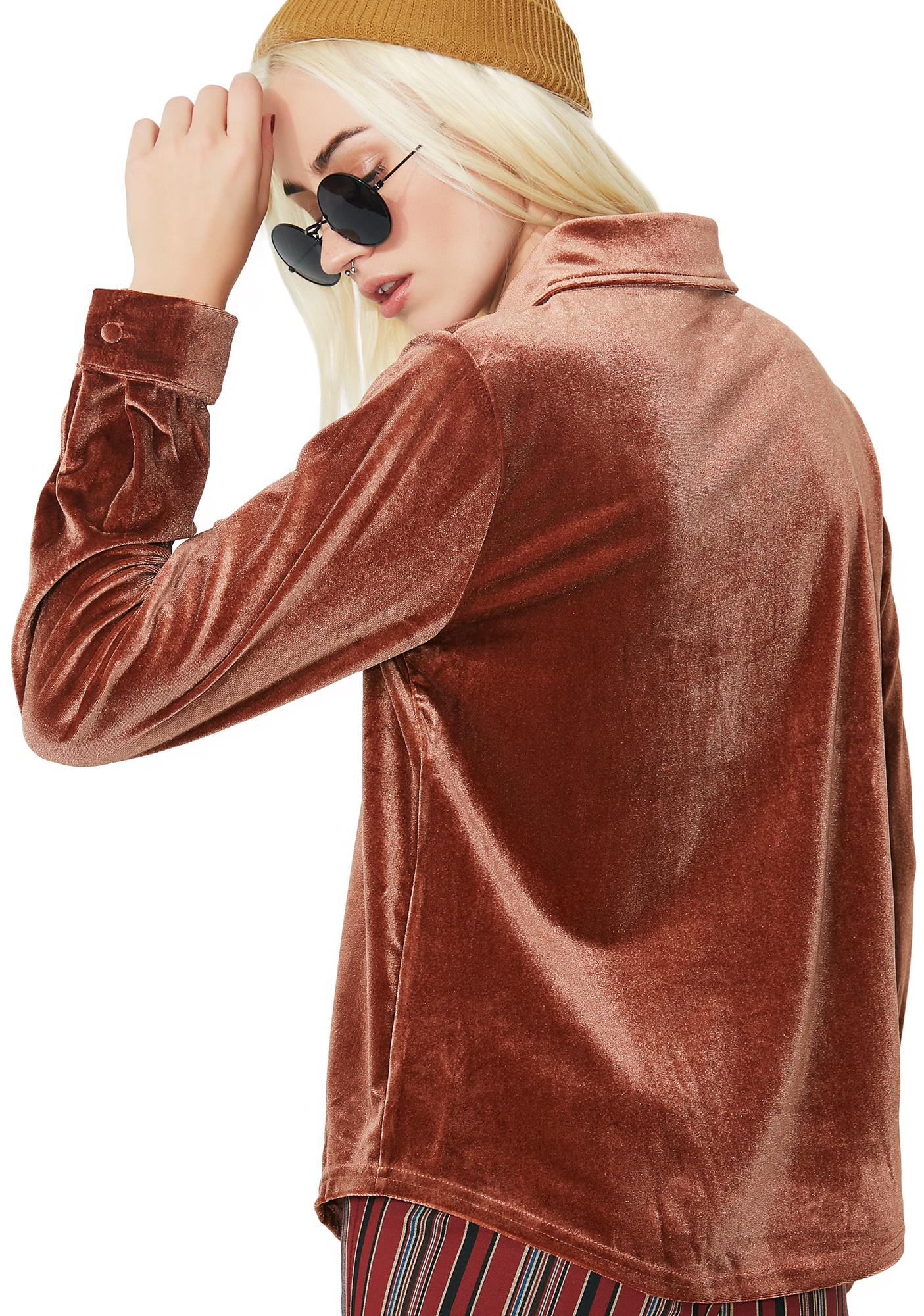Smooth Talker Velvet Button-Up Blouse
