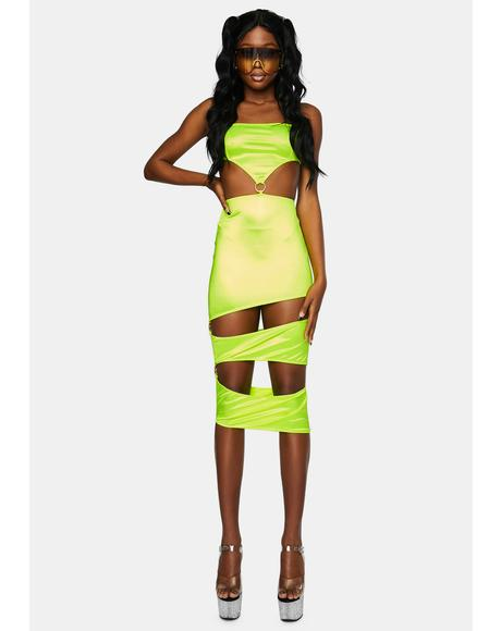 Lime Green Slit Dress