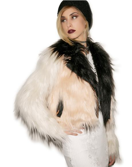 Colored Blocked Faux Fur Moto