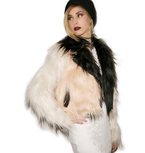 Chaser Colored Blocked Faux Fur Moto