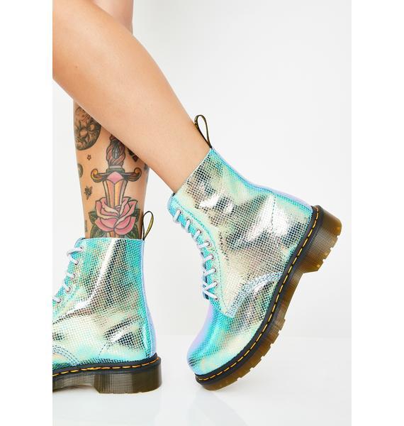 Dr. Martens 1460 Pascal Blue Duo Chrome Boots