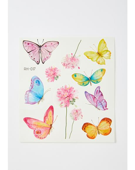 Sunny Forever Flyer Butterfly Temporary Tattoos