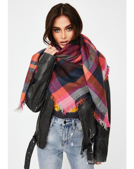 Winter Blues Plaid Scarf