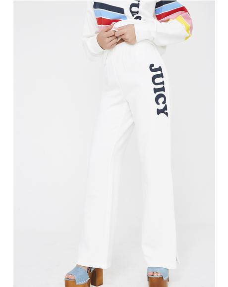 Logo Wide Leg Side Zip Terry Pants