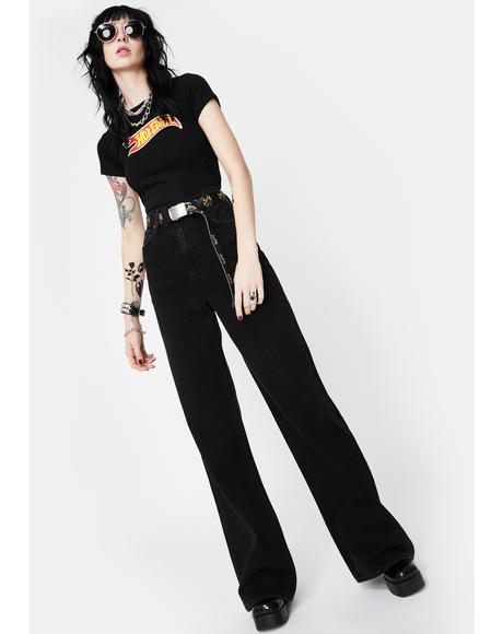 Black Ribcage Wide Leg Jeans