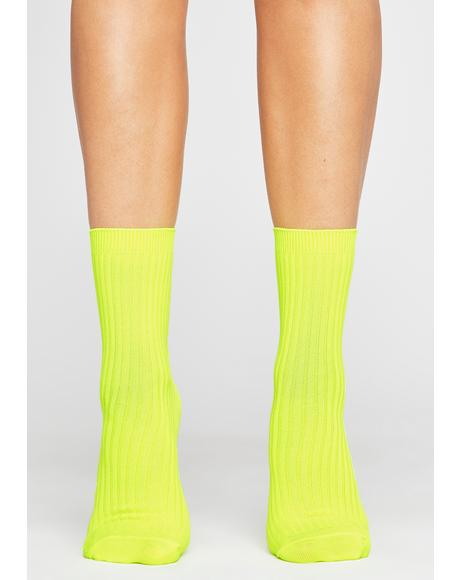 Caution Stay Movin' Ribbed Socks