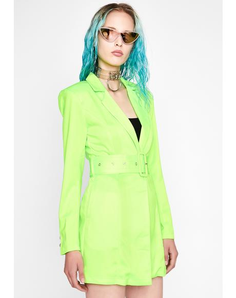 Glowin' Why So Serious Belted Blazer