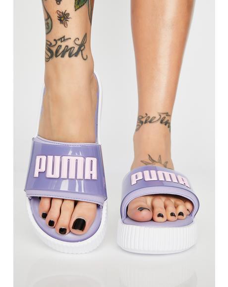 Lilac Fashion Wns Platform Slides
