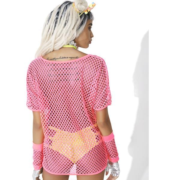 Flamingo Power Shock Fishnet Top