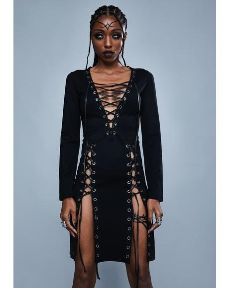 Fallen Kingdom Lace Up Dress