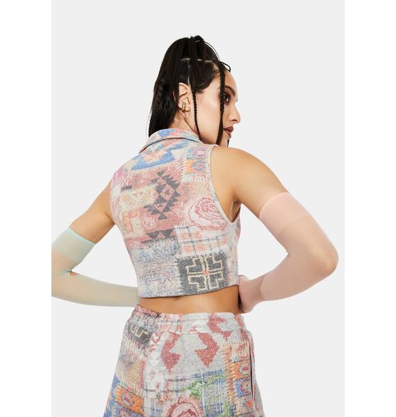 Jaded London Tapestry Print Rib Halter Top With Popper Fastening