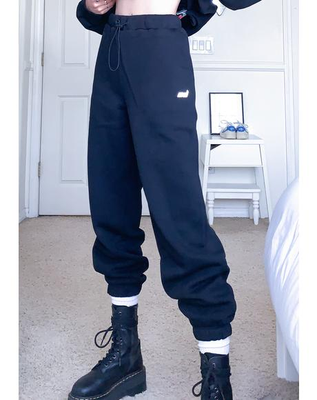 Black Toggle Sweatpants