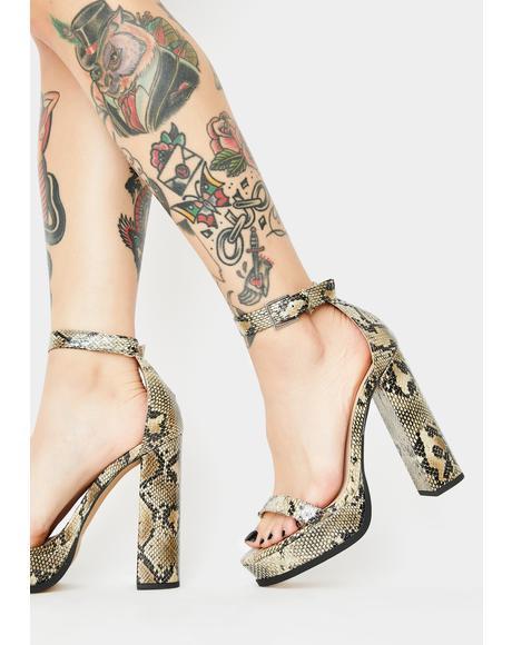 Snakeskin Rachel Platform Heels