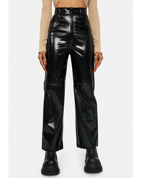 Black Vinyl High Waist Pants