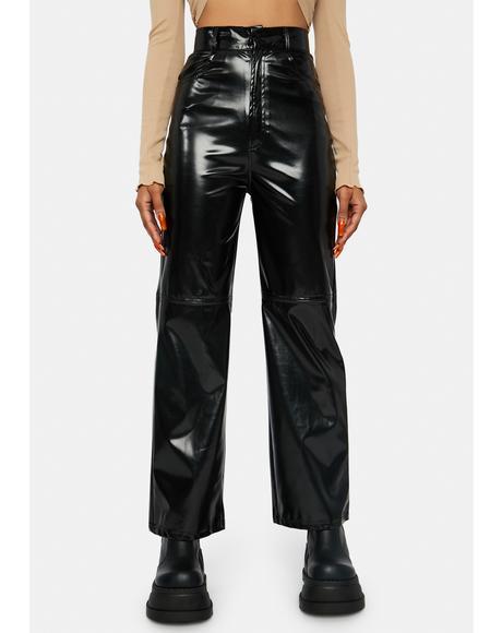 Black Vinyl High Waist Pants