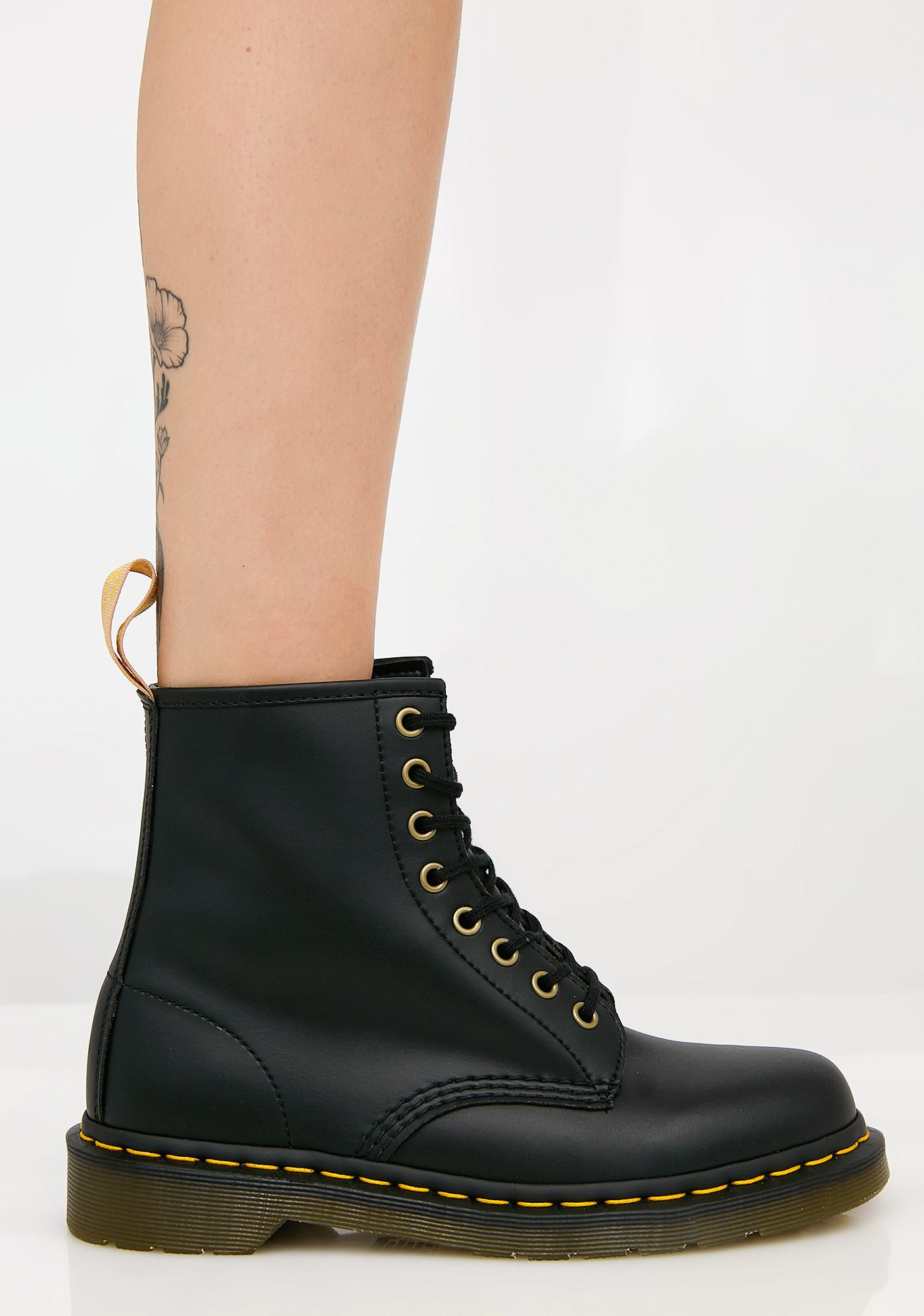 Vegan Lace Up 8 Eye Boot - Black Dr. Martens gvJGX8D