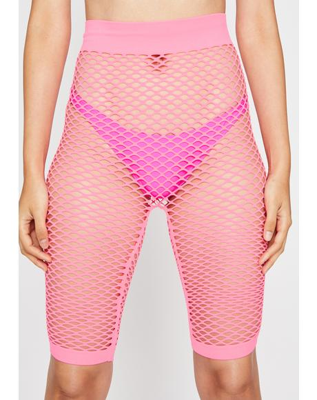 Candy Rockin' Everywhere Fishnet Shorts