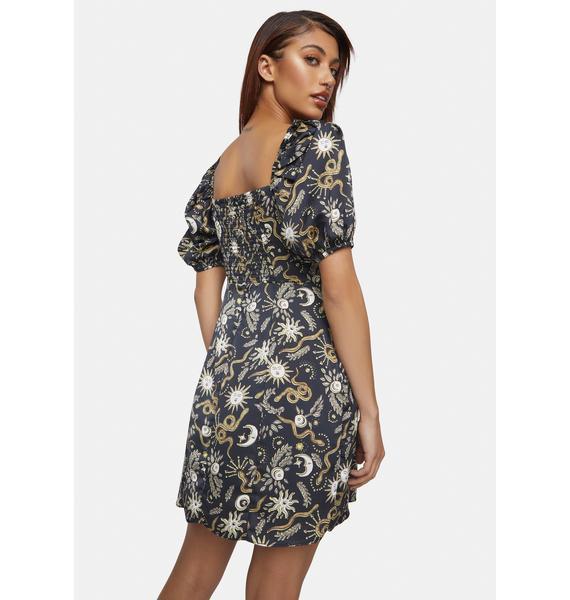 Glamorous Black Sun Moon Puff Sleeve Mini Dress