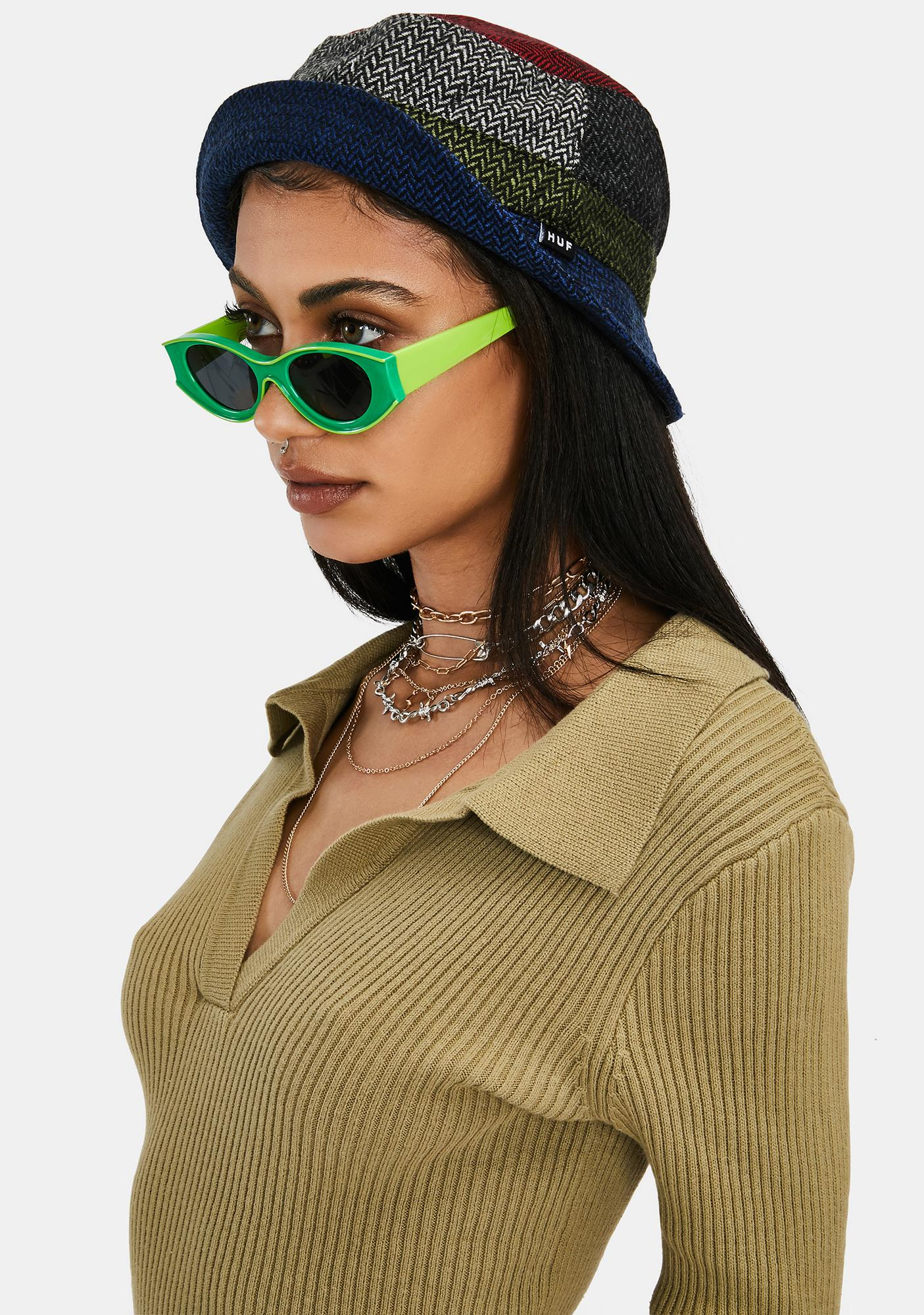 Lime Funk With My Heart Retro Sunglasses