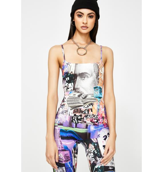 Jaded London Lips Collage Print Square Neck Catsuit