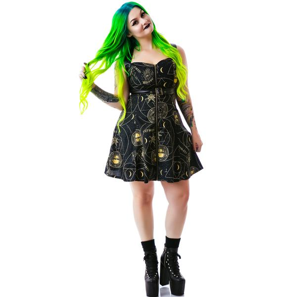 Hell Bunny Pentagram Constellations Belted Mini Dress