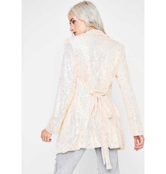 Champagne Chic Shine Sequin Blazer