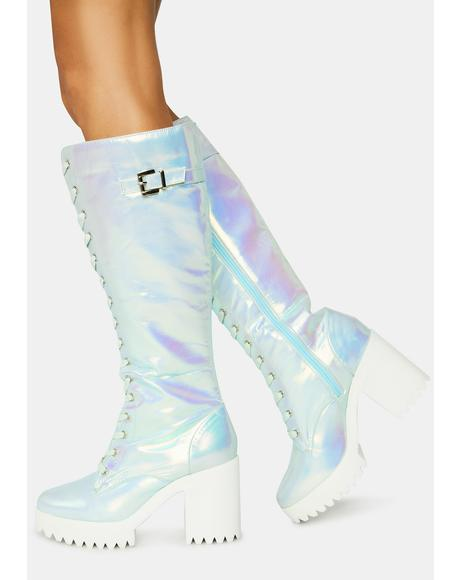 Blue Fairy Lace Up Boots