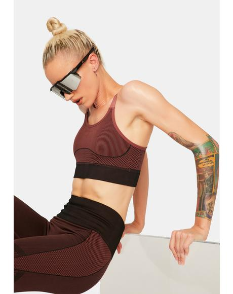 Burgundy Hustle Harder Sports Bra