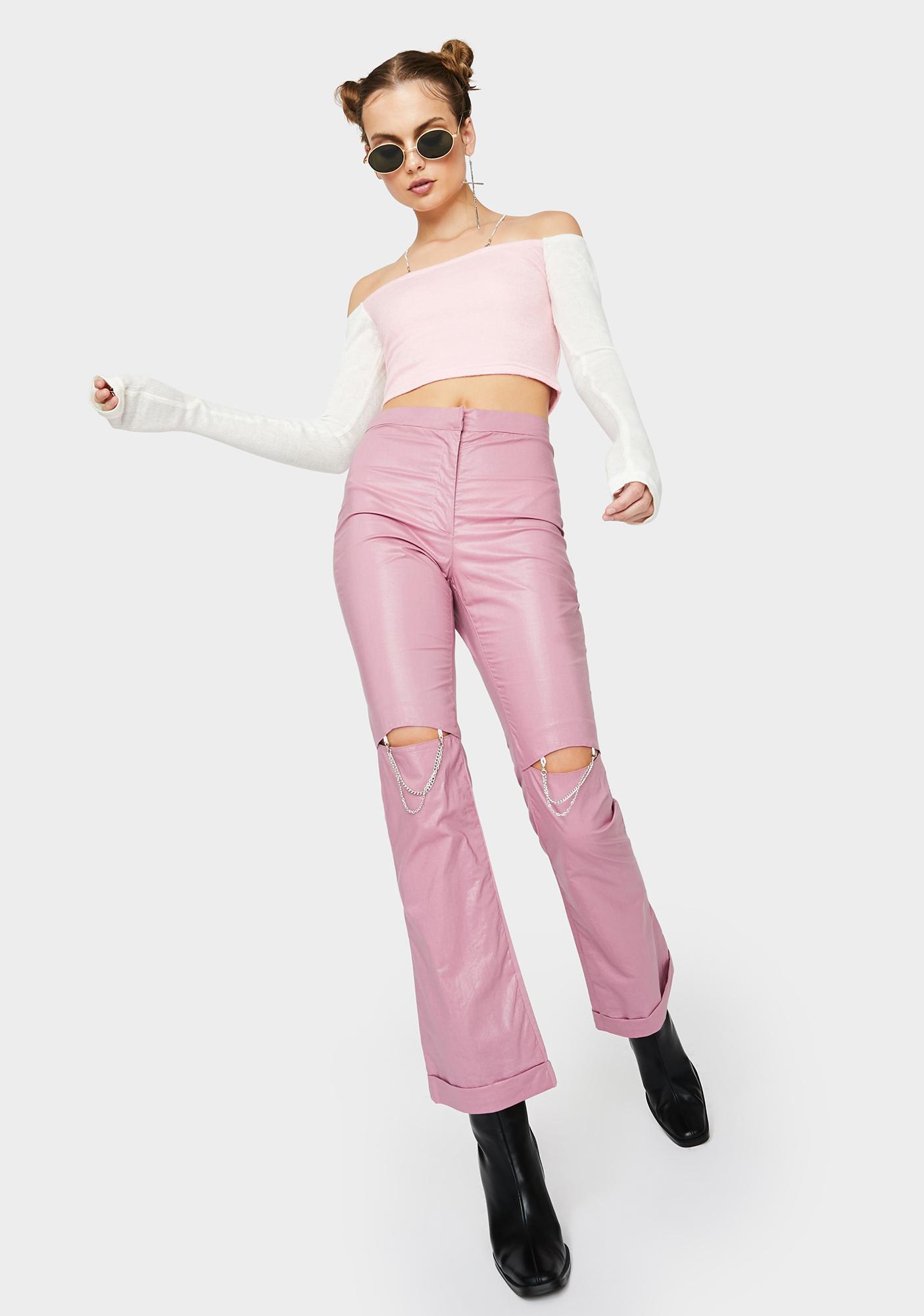 ZEMETA Lip Chain Wide Leg Pants