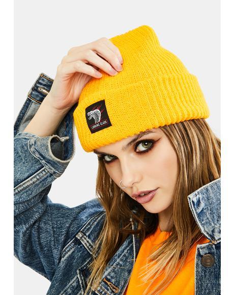 Yellow Cobra Knit Beanie