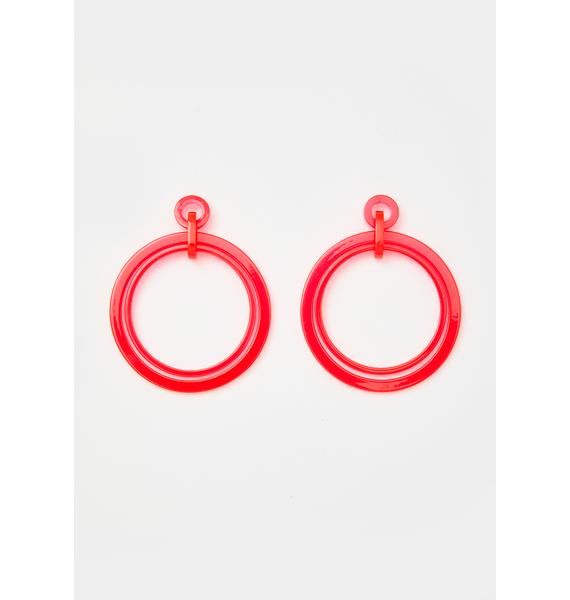 Mod Illusion Circle Drop Earrings