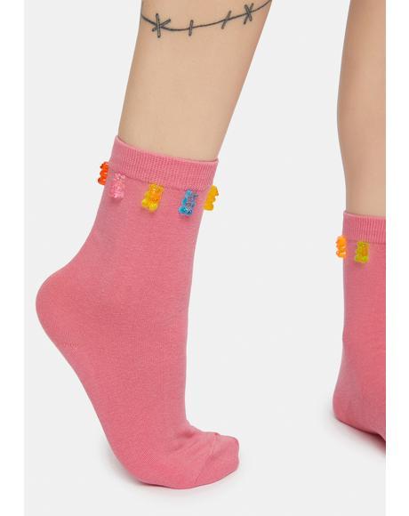 Peach Gummy Bear Treats Crew Socks