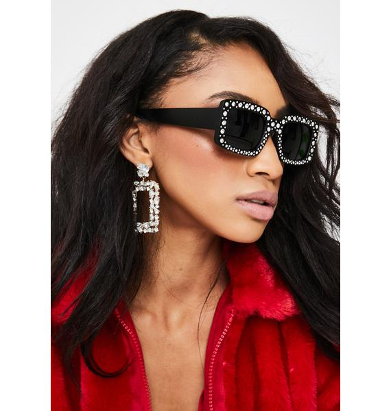 I-SEA Disco Fox Rhinestone Sunglasses