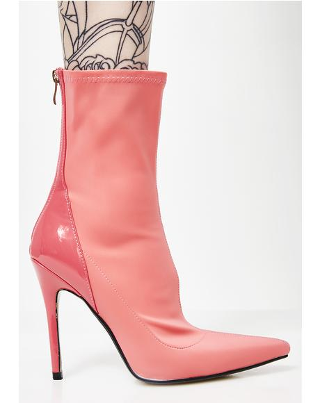 Coral Staple Patent Stiletto Heel Ankle Boots