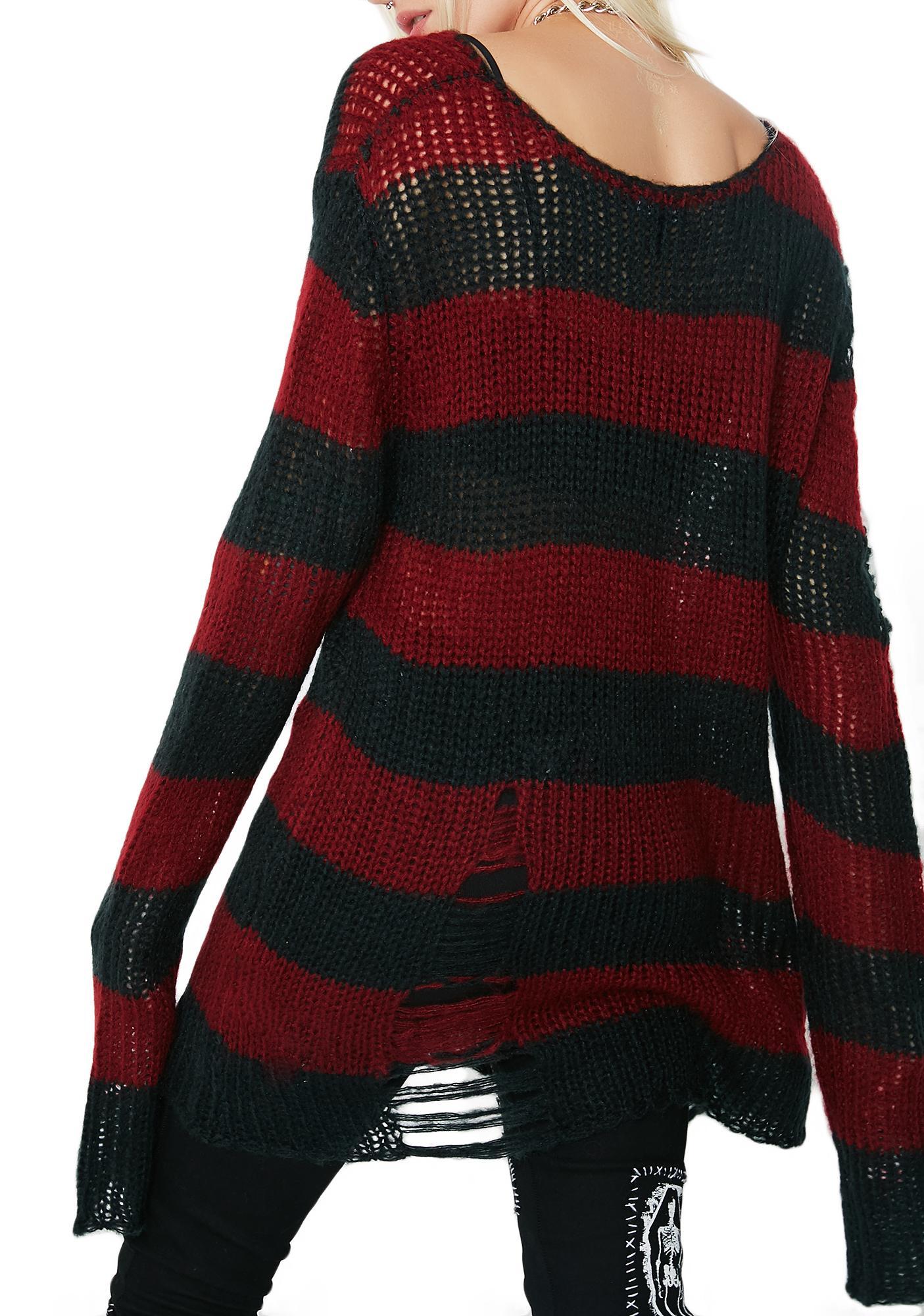 Current Mood Striped Distressed Sweater Dolls Kill