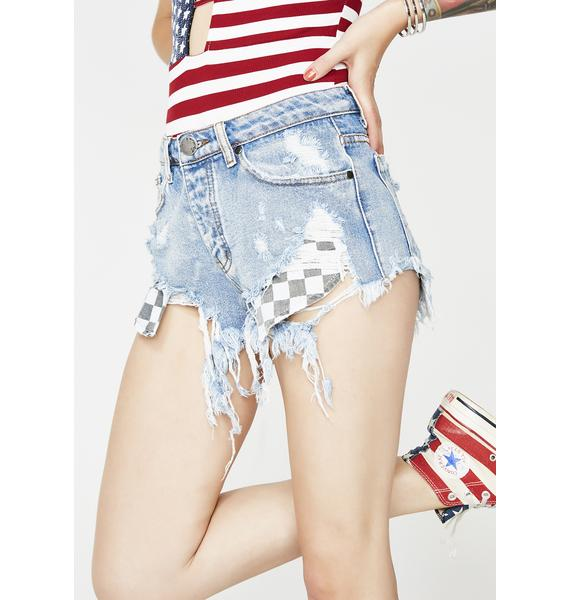 Checkered State Denim Shorts