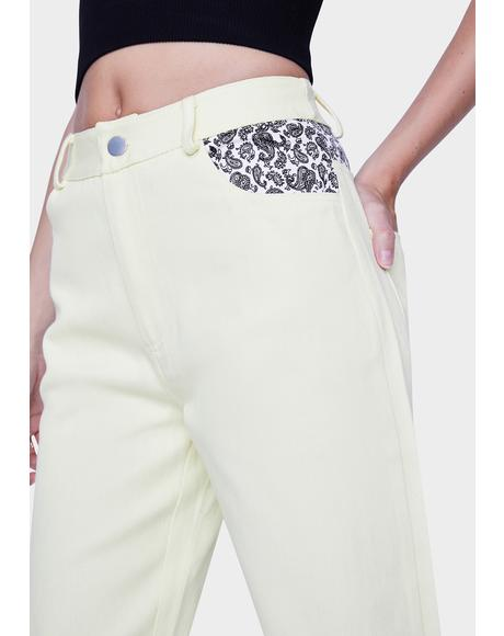 Yellow Printed Pocket Mom Jeans
