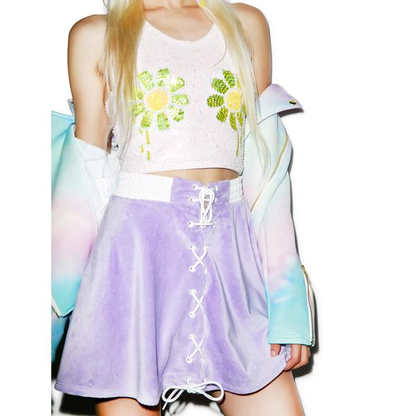 Coveted Society Pastel Faux Fur Bomber Skirt
