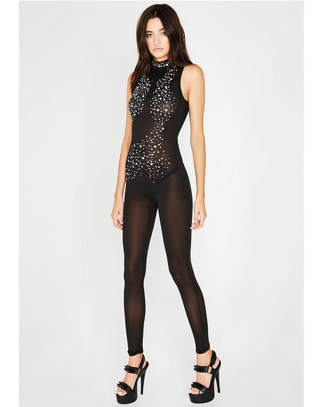 Night Hollywood Strip Sheer Catsuit