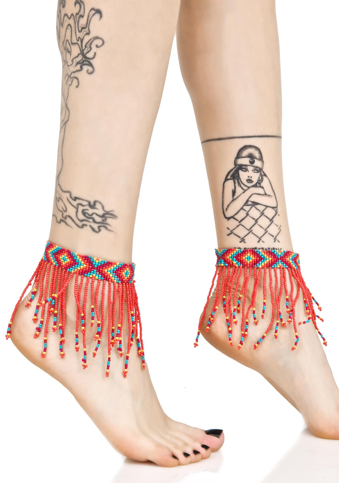 Colored Rain Beaded Ankle Wraps