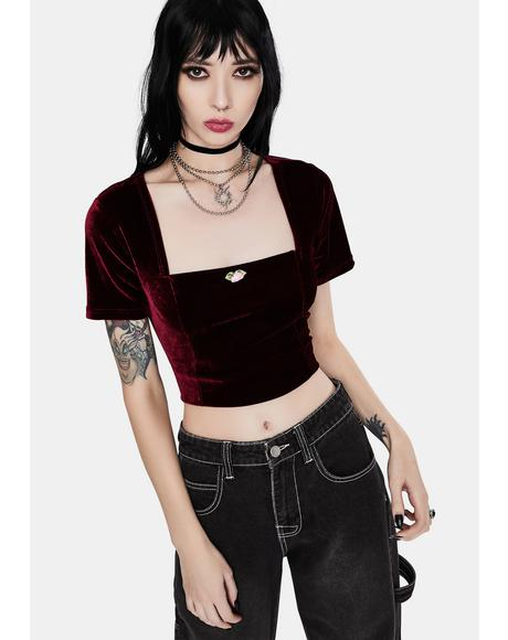 Darkest Rose Velvet Crop Top