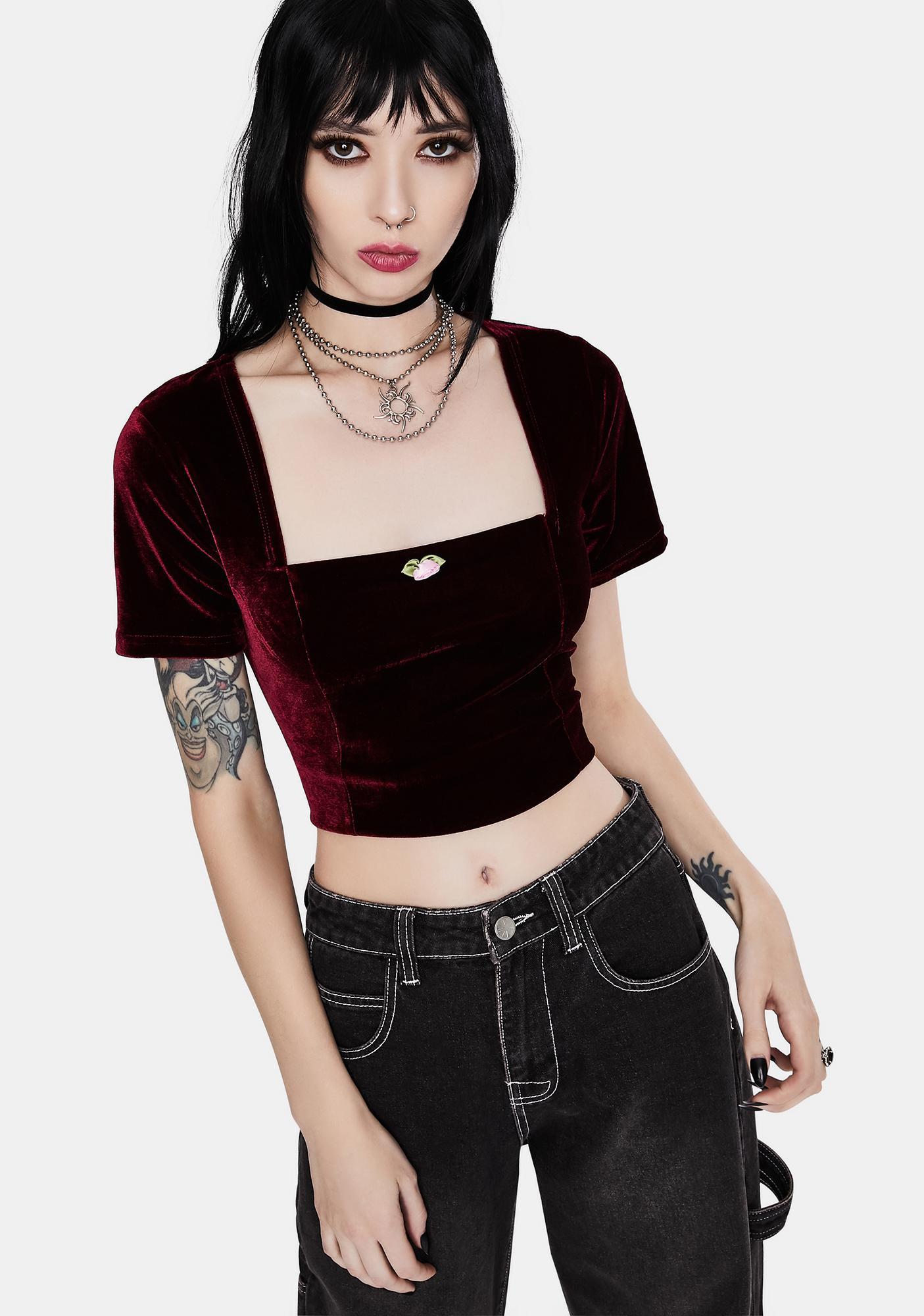dELiA*s by Dolls Kill Darkest Rose Velvet Crop Top
