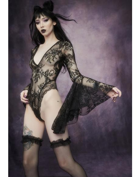 Source Of Magic Bell Sleeve Lace Bodysuit
