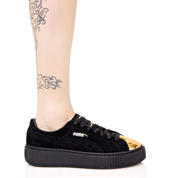 PUMA Gold Tip Suede Platform Sneakers