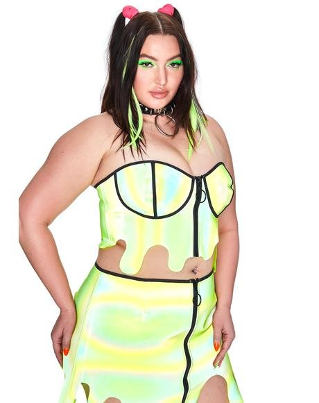 Toxic Slime Zone Reflective Bustier