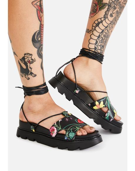 Wicked Throwing Nightshade Lace Up Sandals