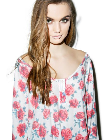 Gypsy Roses Lagoon Long-Sleeve Henley Thermal