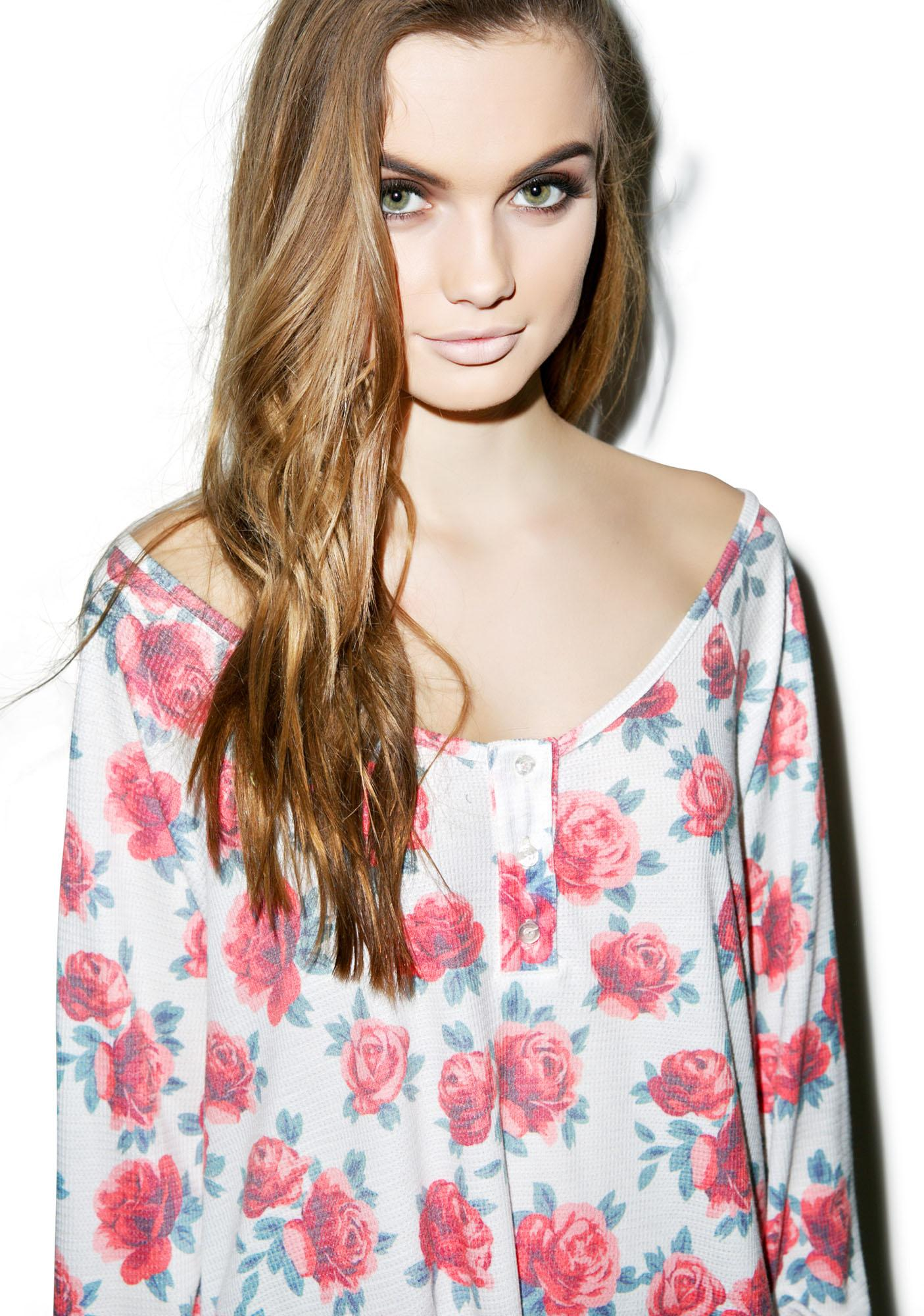Wildfox Couture Gypsy Roses Lagoon Long-Sleeve Henley Thermal